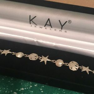 Sterling Silver Seashell Bracelet  7  1/2 inch